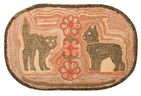 antique cat and dog hooked rug original