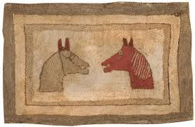 """two horses"" original antique hooked rug"