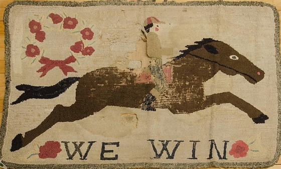 """we win"" original hooked rug"