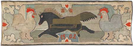 """two chickens one horse"" original hooked rug"