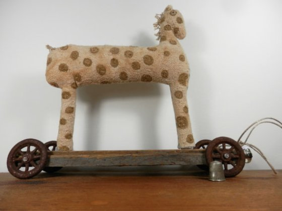 polka dot horse pull toy ~  relisted at a new price